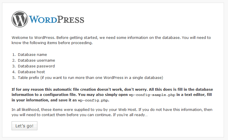 Create Database For WordPress