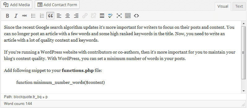 How To Set Minimum Word Count For WordPress Posts