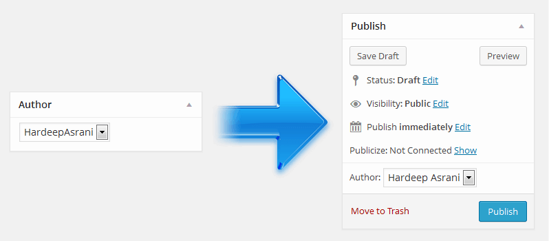 How To Move Author Metabox To Publish Metabox In WordPress