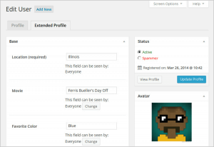 Extended Profiles in Admin